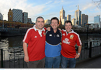 28 June 2013; British & Irish Lions supporters the Coughlan brothers, from left, Eddie, Danny and Pat, from Hacketstown, Co. Carlow, on The Yarra Promenade ahead of the Lions 2nd test match against Australia on Saturday. British & Irish Lions Tour 2013, Fans in Melboure, Australia. Picture credit: Stephen McCarthy / SPORTSFILE