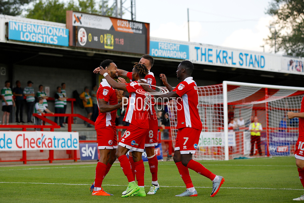 Crawley Town players celebrate a goal from Crawley Town midfielder Jordan Roberts (11) (score 1-0) during the EFL Sky Bet League 2 match between Crawley Town and Yeovil Town at the Checkatrade.com Stadium, Crawley, England on 2 September 2017. Photo by Andy Walter.