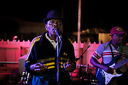 A local singer is entertaining guests at a trendy restaurant on the island of Sao Tome, Sao Tome and Principe, (STP) a former Portuguese colony in the Gulf of Guinea, West Africa.