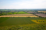 Steep chalk escarpment looking south from the northern side of the Vale of Pewsey near Oare, Wiltshire, England, UK