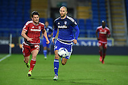 Matthew Connolly © of Cardiff city in action. Skybet football league championship match, Cardiff city v Middlesbrough at the Cardiff city Stadium in Cardiff, South Wales  on Tuesday 20th October 2015.<br /> pic by  Andrew Orchard, Andrew Orchard sports photography.