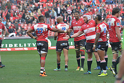14-07-18 Johannesburg. Emirates Airlines Park. Emirates Lions vs Vodacom Blue Bulls.<br /> 2nd half.  Aphiwe Dyantyi is congratulated by team mates after scoring the final try.<br /> Picture: Karen Sandison/African News Agency (ANA)