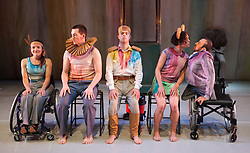 "© Licensed to London News Pictures. 13/05/2014. London, UK. L-R: Laura Jones, David Willdridge, Chris Pavia; Amy Butler and David Toole. Sadler's Wells present the series ""=dance"", dance productions by disabled and non-disabled performers. Stopgap Dance Company perform ""Artificial Things"". Artificial Things is the debut production by Stopgap's Artistic Director Lucy Bennett, who is one of UK's leading experts in integrated choreography. Performers: David Toole, Chris Pavia, Laura Jones, Amy  Butler and David Willdridge. Photo credit: Bettina Strenske/LNP"
