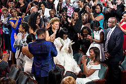 """Attendees applaud First Lady Michelle Obama during the """"Black Girls Rock! """" event at the New Jersey Performing Arts Center in Newark, N.J., March 28,  2015. (Official White House Photo by Amanda Lucidon)<br /> <br /> This official White House photograph is being made available only for publication by news organizations and/or for personal use printing by the subject(s) of the photograph. The photograph may not be manipulated in any way and may not be used in commercial or political materials, advertisements, emails, products, promotions that in any way suggests approval or endorsement of the President, the First Family, or the White House."""
