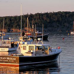Fishing boats and Sheep Porcupine Island in Bar Harbor. Bar Harbor, ME