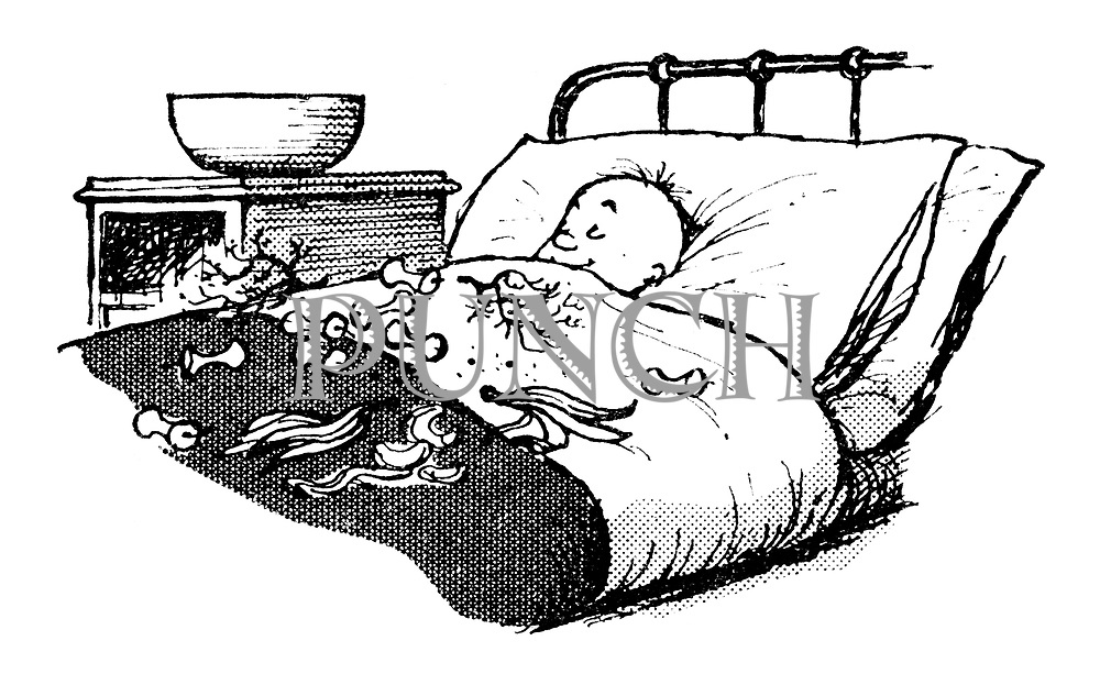 Children's Ward. (A child in a hospital bed lies surrounded by the remnants of fruit he has eaten)