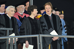 Carla Anderson Hills and Paul McCartney. Yale Commencement 2008 Procession and Ceremonies. Conferring of Honorary Doctor of Music Degree, Mus. D, to Sir Paul on Old Campus, Yale University, New Haven, CT