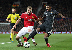 Manchester United's Luke Shaw (left) and CSKA Moscow's Coelho Vitinho in action during the UEFA Champions League match at Old Trafford, Manchester.