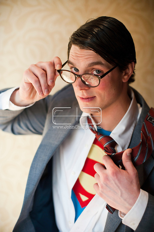 24th February 2011. Las Vegas, Nevada.  Celebrity Impersonators from around the globe were in Las Vegas for the 20th Annual Reel Awards Show. Pictured is Clark Kent / Superman impersonator Alexander Rae, .26, from Pennsylvania. Photo © John Chapple / www.johnchapple.com..