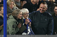 a fan looks delighted after she gets given the shirt from David Luiz of Chelsea after the final whistle. Premier league match, Chelsea v Tottenham Hotspur at Stamford Bridge in London on Saturday 26th November 2016.<br /> pic by John Patrick Fletcher, Andrew Orchard sports photography.
