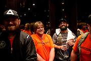 Johny Hendricks take the elevator to the hotel lobby before heading to the American Airlines Center for his title fight against Robbie Lawler at UFC 171 in Dallas, Texas on March 15, 2014.