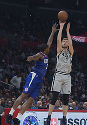 November 15, 2018 - Los Angeles, California, U.S - Sindarius Thornwell #0 of the Los Angeles Clippers tries to block Davis Bertans #42 of the San Antonio Spurs during their NBA game on Thursday November 15, 2018 at the Staples Center in Los Angeles, California. Clippers defeat Spurs, 116-111. (Credit Image: © Prensa Internacional via ZUMA Wire)