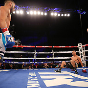 Christoper Diaz fights Raul Hirales during the Top Rank boxing event at Osceola Heritage Park in Kissimmee, Florida on September 23, 2016.