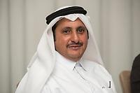 08 APR 2013, DOHA/QATAR<br /> Khalifa bin Jassim bin Muhammed bin Jassim bin Muhammed Al Thani, Chairman Qatar Chamber of Commerce & Industry, waehrend einem Gespraech mit Journalisten, W Hotel<br /> IMAGE: 20130408-01-025<br /> KEYWORDS: Katar