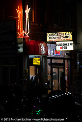 The Dungeon Bar on Main Street during the Sturgis Black Hills Motorcycle Rally. Sturgis, SD, USA. Friday, August 9, 2019. Photography ©2019 Michael Lichter.