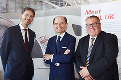 EMBARGO: 09:3 14 NOVEMBER 2018 EMBARGO<br /> <br /> Left to right: Paul Lewis, managing director, Scottish Development International; Carlos de Palacio,  President of Talgo; Jon Veitch, UK director, Talgo<br /> <br /> Representatives of Spanish train manufacturer Talgo will announce the results of their search for a site in Scotland.  They will confirm a site for a 1,000 jobs train building plant at  Longannet <br /> <br /> Copyright Terry Murden @edinburghelitemedia <br /> <br /> EMBARGO: 09:3 14 NOVEMBER 2018 EMBARGO