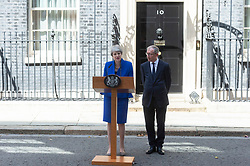 © Licensed to London News Pictures. 24/07/2019. London, UK. British Prime Minister Theresa May MP with her husband Philip May makes her final speech outside No.10 Downing Street before resigning. Boris Johnson MP was elected as the new Conservative party leader and Prime Minister. Photo credit: Ray Tang/LNP