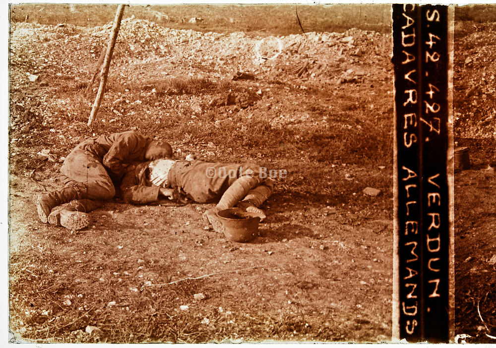 WW1 at the battlefield trenches with two dead German soldiers