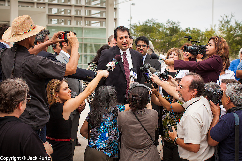 21 AUGUST 2012 - PHOENIX, AZ: VICTOR VIRAMONTES, national senior counsel for MALDEF at a press conference after a hearing in the US court in Phoenix. A handful of protesters waited outside the Sandra Day O'Connor Courthouse in Phoenix Wednesday while lawyers from the American Civil Liberties Union (ACLU) and Mexican American Legal Defense and Education Fund (MALDEF) sparred with lawyers from Maricopa County and the State of Arizona over the constitutionality of section 2B of SB 1070, Arizona's tough anti-immigrant law. Most of the law was struck down by the US Supreme Court in June, but the Justices let section 2B stand pending further review. The suit is being heard in District  Judge Susan Bolton's court. It was Judge Bolton who originally struck down SB 1070 in 2010. A ruling is expected later in the year.   PHOTO BY JACK KURTZ