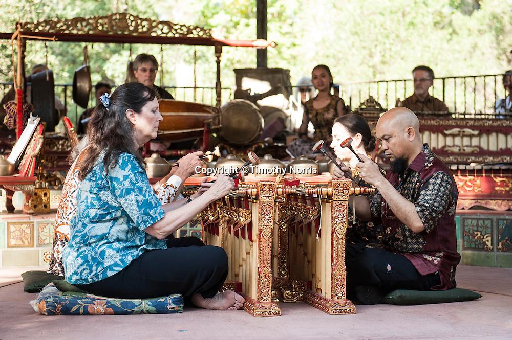 Gamelan Sari Raras perform gamelan music and works by Lou Harrison at Libbey Park Gazebo on June 7, 2013 in Ojai, California.