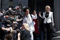 April 26, 2018 - Norristown, Pennsylvania, U.S - Bill Cosby accuser LILI BERNARD speaks with the media after Cosby was found guilty on three sexual assault charges in his retrial outside Philadelphia. (Credit Image: © Michael Candelori via ZUMA Wire)