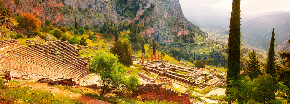 4th century BC theatre of Delphi & Temple of Apollo , archaeological site, Greece, .<br /> <br /> If you prefer to buy from our ALAMY PHOTO LIBRARY  Collection visit : https://www.alamy.com/portfolio/paul-williams-funkystock/delphi-site-greece.html  to refine search type subject etc into the LOWER SEARCH WITHIN GALLERY.<br /> <br /> Visit our ANCIENT GREEKS PHOTO COLLECTIONS for more photos to download or buy as wall art prints https://funkystock.photoshelter.com/gallery-collection/Ancient-Greeks-Art-Artefacts-Antiquities-Historic-Sites/C00004CnMmq_Xllw