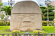 The Cobata Olmec colossal head on display at Parque Olmeca in Santiago Tuxtla, Veracruz, Mexico. The giant stone heads were carved by the Olmec Mesoamerica civilization between 1550-900 B.C and  weigh between 6 and 50 tons.