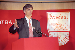 NEW ARSENAL BOSS ARSENE WENGER DURING A NEWS CONFERENCE AFTER TAKING OVER THE HOT SEAT AT HIGHBURY. THE 47-YEAR-OLD REVEALED HOW HE WAS TEMPTED TO JOIN WITH HIS OLD PROTEGE GLEN HODDLE AS THE FA'S NEW TECHICAL DIRECTOR BEFORE ACCEPTING THE CHALLENGE FROM GUNNERS.