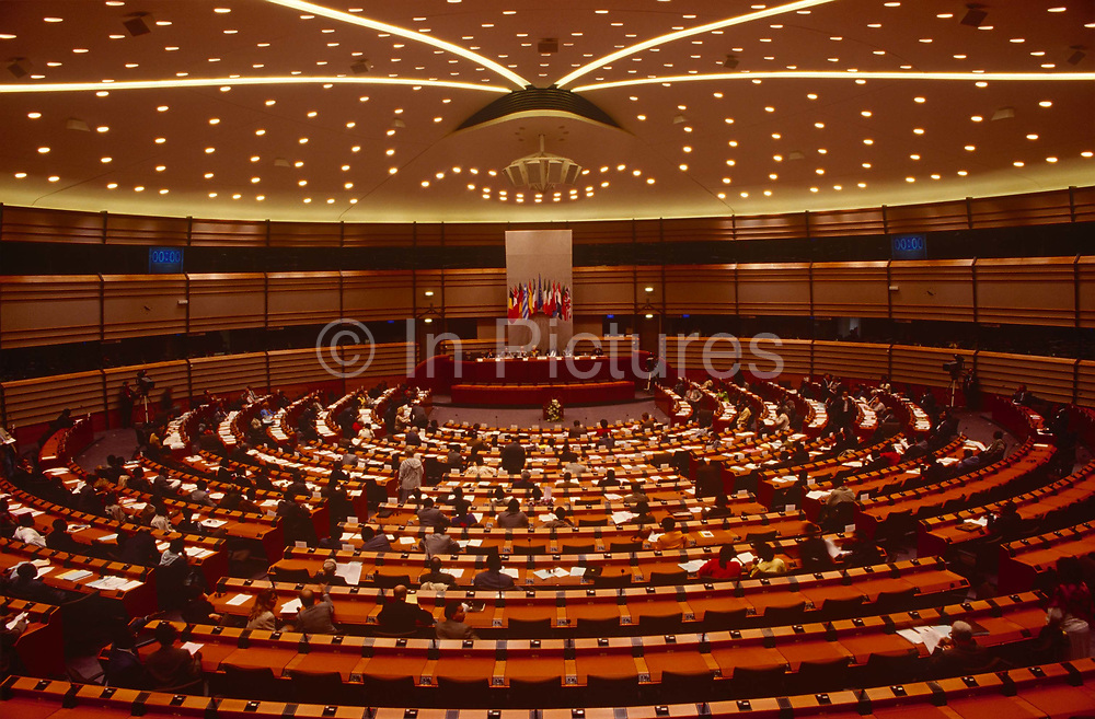 A wide aerial view of the European Parliaments new headquarters of the EU and an administrative home to the Members of European Parliament MEPs, at the time of its opening, on 16th October 1993, in Brussels, Belgium.