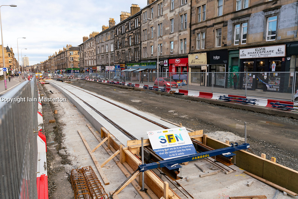 First section of tracks have been laid on Leith Walk as part of Edinburgh trams to Newhaven project, Scotland UK