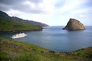Cruise ship, Ua Huka, Marquesas Islands, French Polynesia<br />