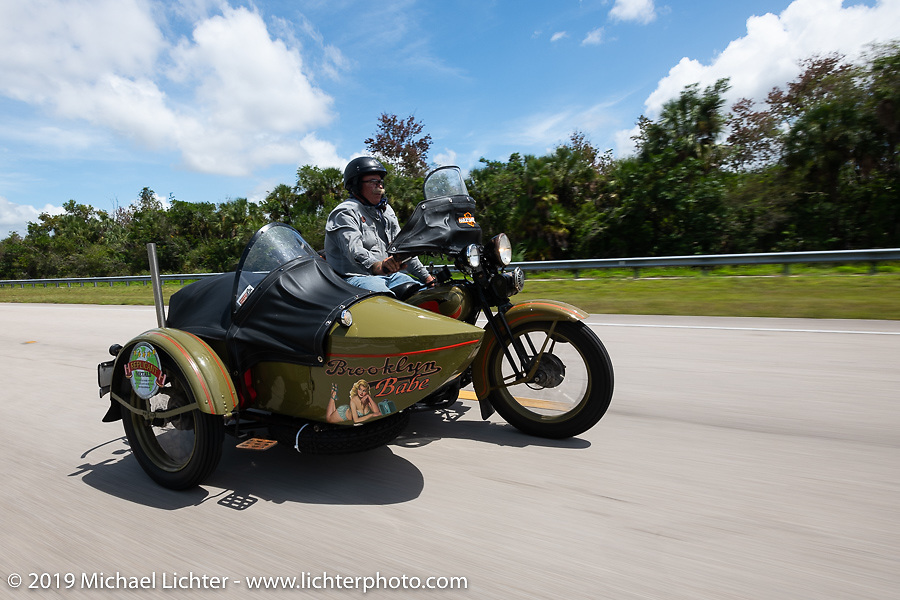 Bill Reese riding his Brooklyn Babe 1933 Harley-Davidson VLE with sidecar in the Cross Country Chase motorcycle endurance run from Sault Sainte Marie, MI to Key West, FL. (for vintage bikes from 1930-1948). Stage-9 covered 259 miles from Lakeland, FL to Miami, FL USA. Saturday, September 14, 2019. Photography ©2019 Michael Lichter.