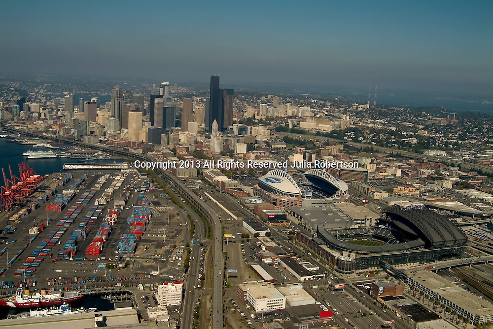 Aerial view of downtown Seattle, Washington waterfront ande  Seattle Mariners, Safeco Field, Seattle Seahawks at Qwest Field