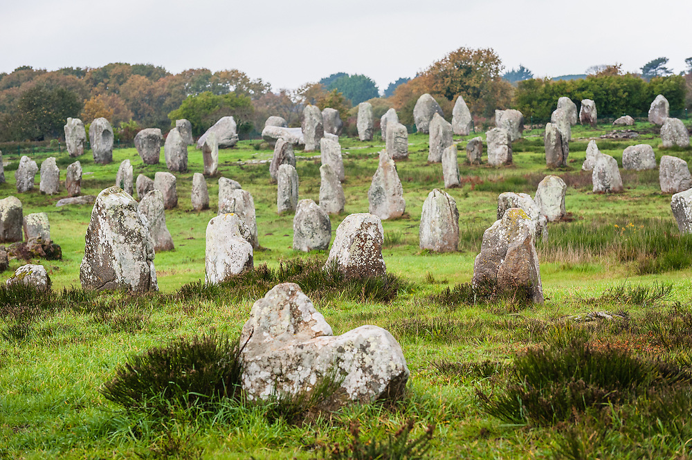 The Carnac stones (Alignements de Carnac) are an exceptionally dense collection of megalithic sites around the village of Carnac in Brittany.  The stone formations are either alignments, dolmens, tumuli or single menhirs. More than 3,000 prehistoric standing stones are in the area, erected by the Pre-Celtic people and it's the largest collection in the world.