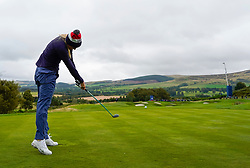 Auchterarder, Scotland, UK. 12 September 2019. Final practice day at 2019 Solheim Cup on Centenary Course at Gleneagles. Pictured; Lexi Thompson drives on the 8th hole. Iain Masterton/Alamy Live News