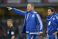 Steve Holland, the Chelsea first team assistant coach giving orders from the touchline. Barclays Premier League, West Ham Utd v Chelsea at The Boleyn Ground, Upton Park in London on Saturday 24th October 2015.<br /> pic by John Patrick Fletcher, Andrew Orchard sports photography.