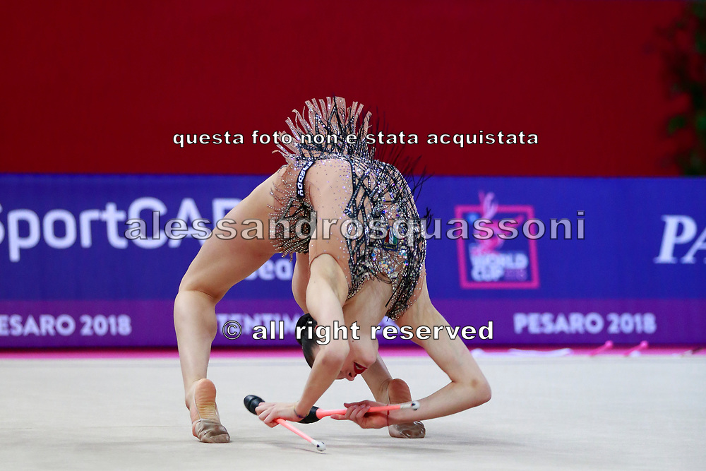 Baldassarri Milena from Italy is a really young but talented gymnast. She was born in Ravenna on October 16, 2001. She represented Italy at the 2017 World Rhythmic Gymnastics Championships in Pesaro, where she finished 9th.