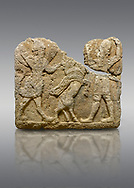 Hittite relief sculpted orthostat stone panel of Herald's Wall. Limestone, Karkamıs, (Kargamıs), Carchemish (Karkemish), 900-700 B.C. Anatolian Civilisations Museum, Ankara, Turkey.<br /> <br /> On the left is a winged mixed creature with a human head and body who has a scorpion tail and bird legs; on the right is a human-like god. The figures fight with a winged bull standing on its hind legs. The scorpion-man is known as Girtablull. .<br />  <br /> If you prefer to buy from our ALAMY STOCK LIBRARY page at https://www.alamy.com/portfolio/paul-williams-funkystock/hittite-art-antiquities.html  - Type  Karkamıs in LOWER SEARCH WITHIN GALLERY box. Refine search by adding background colour, place, museum etc.<br /> <br /> Visit our HITTITE PHOTO COLLECTIONS for more photos to download or buy as wall art prints https://funkystock.photoshelter.com/gallery-collection/The-Hittites-Art-Artefacts-Antiquities-Historic-Sites-Pictures-Images-of/C0000NUBSMhSc3Oo