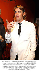 MR BEN ELLIOT nephew of Camilla Parker Bowles, at a party in London on 12th September 2002.PDE 318