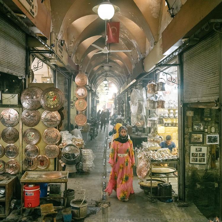 Silversmith section of the Urfa old bazaar.