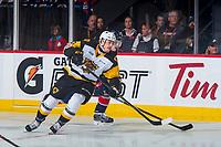 REGINA, SK - MAY 25: Nicholas Caamano #10 of Hamilton Bulldogs skates against the Regina Pats at the Brandt Centre on May 25, 2018 in Regina, Canada. (Photo by Marissa Baecker/CHL Images)
