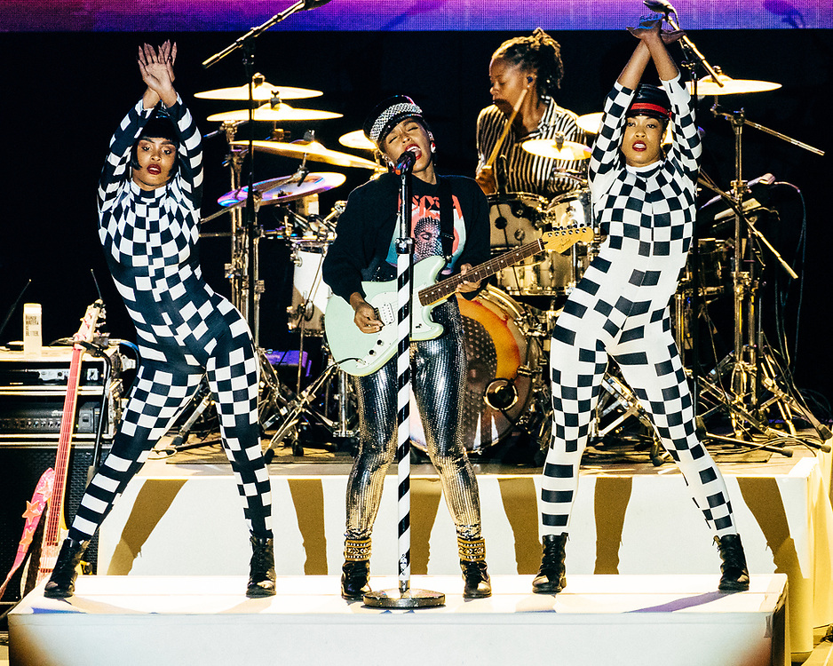 NEW YORK, NY/US - SEPTEMBER 26, 2019: Janelle Monáe performs onstage at SummerStage in Central Park as part of the City Parks Foundation 30 Gala & Concert in Manhattan. PHOTO CREDIT: Eric M. Townsend
