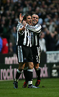 Photo. Andrew Unwin, Digitalsport<br /> Newcastle United v Liverpool, Barclays Premiership, St James' Park, Newcastle upon Tyne 05/03/2005.<br /> Newcastle's Laurent Robert (L) celebrates scoring his team's first goal with team-mate, Stephen Carr (R).
