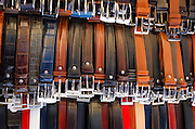 Italian leather belts for sale at Loggia del Mercato Nuovo, Florence, Tuscany, Italy