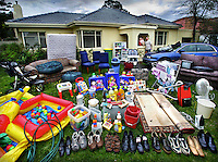 One family's house-hold full of crude oil based products, from their shoes to the acrylic paint on their house. All these products may be affected by the increasing price of crude oil. Joanne & Bill Vlahos and their 15 month old daughter Grace  Pic By Craig Sillitoe melbourne photographers, commercial photographers, industrial photographers, corporate photographer, architectural photographers, This photograph can be used for non commercial uses with attribution. Credit: Craig Sillitoe Photography / http://www.csillitoe.com<br /> <br /> It is protected under the Creative Commons Attribution-NonCommercial-ShareAlike 4.0 International License. To view a copy of this license, visit http://creativecommons.org/licenses/by-nc-sa/4.0/.
