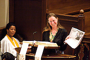 "14 April 2012-Santa Barbara, CA: ""Narration"", Martha Sadler.  Babatunde Folayemi Memorial Service at First United Methodist Church, 305 East Anapamu Street, Santa Barbara, CA. Family and friends gathered immediately following the service for refreshments and sharing in the Fellowship Hall of the church.Artist, Youth advocate, community leader, and former Santa Barbara City Council Member Babatunde Folayemi passed away on Wednesday, March 28, peacefully at home. He was 71, and is survived by his wife Akivah Northern, Cinque Folayemi Northern his son, several nieces and nephews, as well as grand-nieces and grand-nephews. He is also survived by his wifes Aunt Bea (Vivian Scarbrough), who is 105 years old. Photo by Rod Rolle"