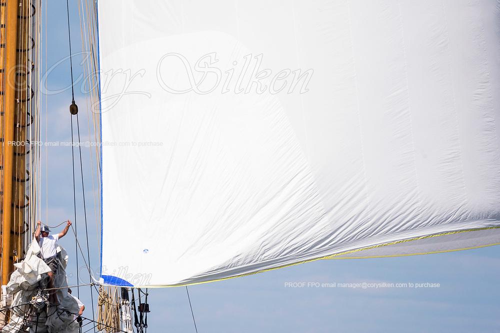 Eleonora sailing at the Herreshoff Classic Yacht Regatta.