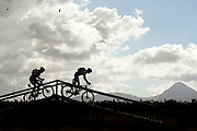 Teo riders cross one of the fence bridges in Oak Valley during stage 5 of the 2011 Absa Cape Epic Mountain Bike stage race from Worcester Gymnasium to Oak Valley on the 1st April 2011..Photo by Greg Beadle/Cape Epic/SPORTZPICS