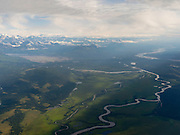Aerial view of the Alaska Range and the Tokositna River and glacial outwash near Talkeetna, Alaska.
