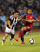BILDET INNGÅR IKKE I FASTAVATLER. ALLE NEDLASTINGER FAKTURERES.<br /> <br /> Fotball<br /> 05.08.2015<br /> UEFA Champions League<br /> Partizan Beograd v Steaua Bucuresti<br /> Foto: imago/Digitalsport<br /> NORWAY ONLY<br /> <br /> 05.08.2015 Belgrade(Serbia) FK Partizan-FC Steaua Champions League third round qualify men s football Andrija Zivkovic (L) FK Partizan and Jugurtha Hamroun (r) FC Steaua